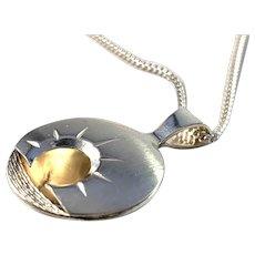 Luleå, Sweden Vintage Sterling Silver 'Midnight Sun' Pendant Necklace.