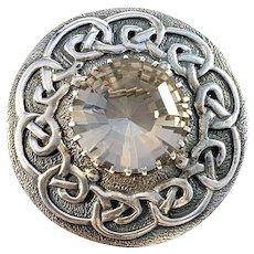 Scotland, Vintage Sterling Silver Quartz Traditional Brooch. Makers Mark.