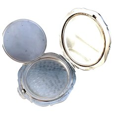 Maker JF, Germany c 1950s Mid Century Sterling Silver Compact. 3.82oz