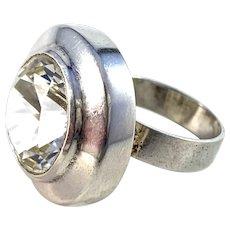 Swedish Import 1960s Bold 830 Silver Rock Crystal Ring.