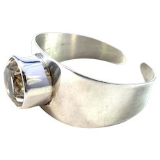 Lindström for Bengt Hallberg, Sweden 1960s Bold Sterling Silver Rock Crystal Cuff Bracelet.