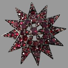 Antique Flat Cut and Rose Cut Bohemian Garnet Gilt Metal Brooch.