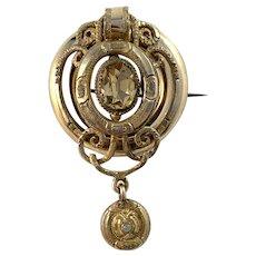 Victorian 12k Gold Gilt Metal Citrine Moonstone Brooch. Makers Mark