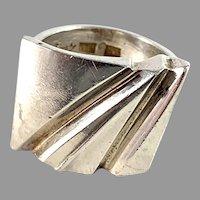 Matti Hyvärinen Finland Vintage Modernist Sterling Silver Adjustable Size Ring. Signed