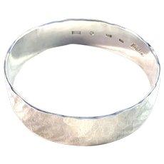 Kuhlin, Sweden Vintage Massive Hand Hammered Sterling Silver Bangle Bracelet. Signed