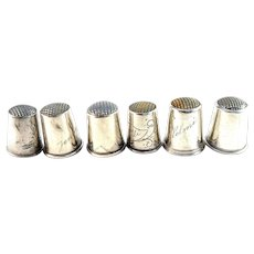6 Finnish Solid Silver Thimbles. year 1908-1936
