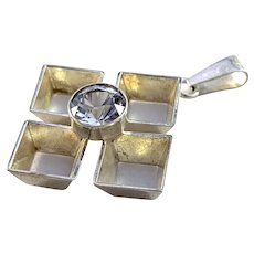 Finland Modernist Solid Silver Rock Crystal Pendant.