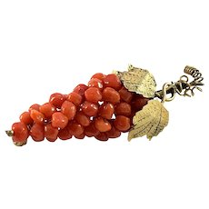 Italy Mid Century Gilt Solid 800 Silver Coral Brooch.