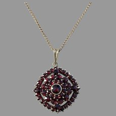 Czechoslovakia, Antique early 1900s Solid 900 Silver Bohemian Garnet Pendant. Hallmarked.