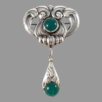Jensen & Akerlund, Denmark 1910s Art Nouveau Skonvirke Silver Chrysoprase Large Brooch.