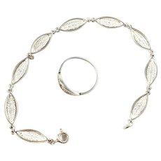 Maker NOR, Finland 1983 Vintage Sterling Silver Bracelet and Ring.