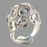 Robbert, Sweden Vintage Modernist Space Age Sterling Silver Ring. Signed