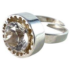 Bengt Hallberg, Sweden 1972. Modernist Sterling Silver Rock Crystal Ring.