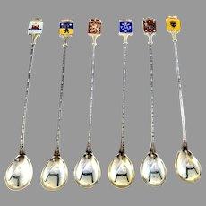 Auran Kultaseppä, Finland Vintage Solid Silver Enamel Long Drink Spoons