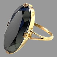 Johan Petersson, Stockholm 1930s Art Deco 18k Gold Onyx Ring.