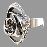 Sten & Laine, Finland year 1972 Sterling Silver Modernist Ring. Orbital.