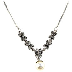 Guldfynd, Sweden. Vintage Sterling Silver Marcasite Faux Pearl Necklace.