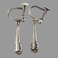 Germany 1940-50s 835 Silver Screw Back Earrings