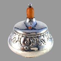 Grann & Laglye, Denmark c 1920 Skonvirke Art and Crafts Solid Silver Amber Bonbonnière