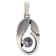 Karl Laine for Finnfeelings Finland. Vintage Sterling Silver Rock Crystal Pendant.