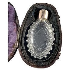Early Victorian 1830-40s 14k Gold Crystal Glass Perfume Bottle. Original case.
