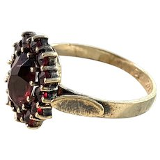 Vintage Mid Century 830 Silver Bohemian Garnet Cluster Ring