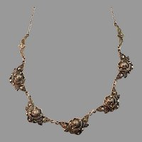 Maker AR, Germany / Austria 1930-40s Solid 935 Silver Marcasite Rose Flower Necklace.