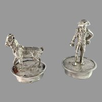 Two Victorian Antique Solid Silver Wine Bottle Stoppers