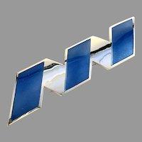 Millie Behrens for David Andersen, Norway Large 4.3in Sterling Silver Blue Enamel Brooch.