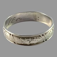 Per Emilsson, Sweden 1945 Solid Silver Wedding Band Ring.