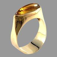 Johan Petersson, Stockholm 1963 Modernist 18k Gold Citrine Ring.