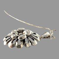 Kaplan, Sweden Vintage Mid Century Sterling Silver Pendant Necklace.