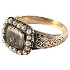 Georgian year 1821 Antique 14k Gold Mourning Ring.