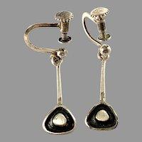 Runes Konsthantverk, Sweden 1958 Solid Silver Earrings