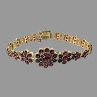 Signed Czechoslovakia, Antique early 1900s Bohemian Garnet Gilt Metal Bracelet.