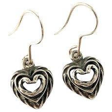 Kalevala Koru, Finland. Vintage Sterling Silver Heart Love Earrings.