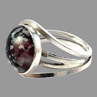 Stenlya, Stockholm 1979. Vintage Sterling Silver Hardstone Ring.