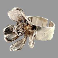 Peter von Post, Stockholm 1974. Bold Sterling Silver Flower Ring.