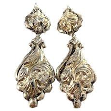 Victorian c 1890 Huge Stamped Metal Earrings.