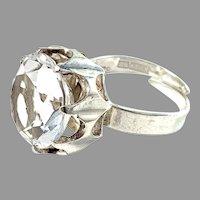 Bengt Hallberg, Sweden 1974 Modernist Sterling Silver Rock Crystal Ring.