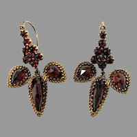 Antique early 1900s Bohemian Garnet Gilt Metal Earrings