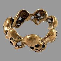 Scandinavian Vintage c 1970s Bronze Skull Ring.