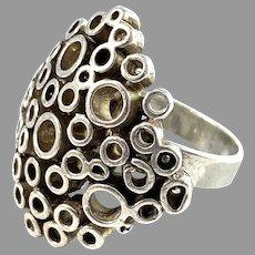 Erik Granit, Finland 1971 Modernist Sterling Silver Ring.