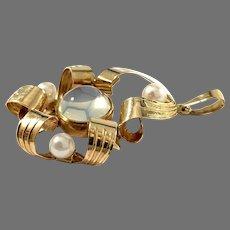 Guldvaruhuset, Sweden 1953. Mid Century 18k Gold Moonstone Cultured Pearl Pendant.