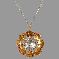 Atelje Stigbert, Sweden 1946. Mid Century Large 18k Gold Rock Crystal Pendant Necklace.
