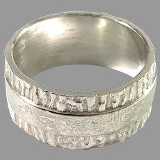 Maker LD, Finland. Vintage Modernist Sterling Silver Ring.