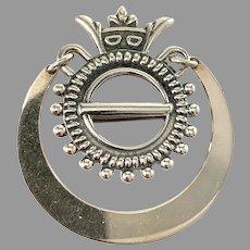 Kalevala Koru, Finland 1979. Vintage Sterling Silver Traditional Brooch.