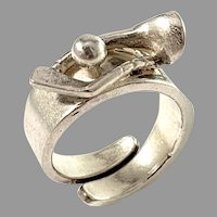 Gson Liedholm, Sweden. Vintage Sterling Silver Novelty Golfer Unisex Ring. Signed
