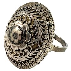 Eastern Europe Antique Solid Silver Filigree Niello Ring.