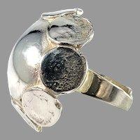 Alton, Sweden 1973. Large and Bold Sterling Silver Modernist Ring.